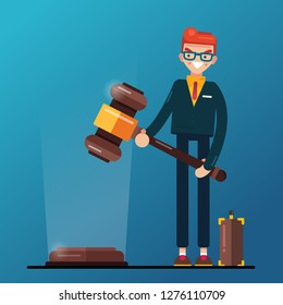 Flat design. Business man hold in hands Gavel justice symbol. Vector, illustration.