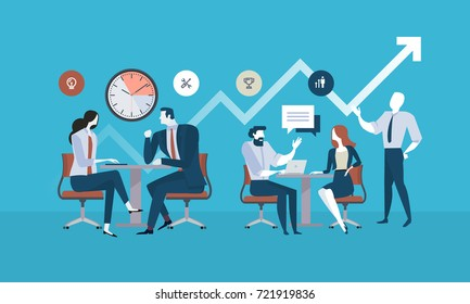 Flat design business people concept for project management, business meeting, working process. Vector illustration concept for web banner, business presentation, advertising material.