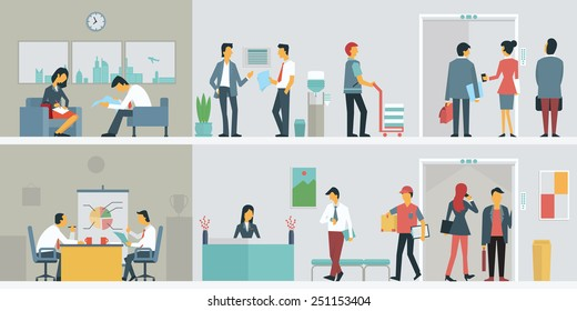 Flat design of business people or office workers in interior building, various characters, actions and activities.