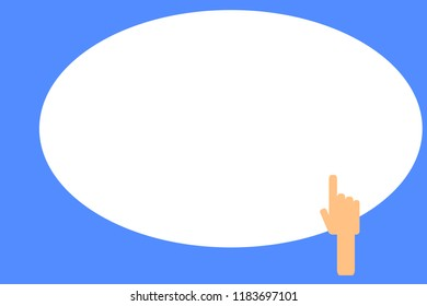 Flat design business Vector Illustration concept Empty template copy space text for Ad website esp isolated 3d isometric Back of right Hand Index ForeFinger pointing up to blank white oval shape