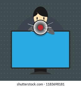 Flat design business Vector Illustration concept Empty copy text for esp Web banners promotional material mock up template Man Standing Behind mounted PC Monitor Screen Talking and Holding Megaphone