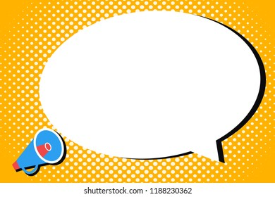 Flat design business Vector Illustration concept Empty template copy space isolated Posters coupons promotional material Megaphone Make Voice Louder Amplify Sound Blank Speech Bubble in Halftone