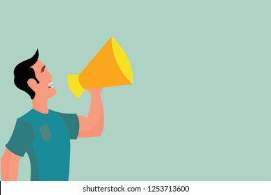 Flat design business Vector Illustration Empty template esp isolated Minimalist graphic layout template for advertising Man in Shirt Standing Talking Holding a Megaphone Male Calling Out onto