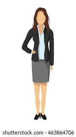 flat design business woman fashion icon vector illustration