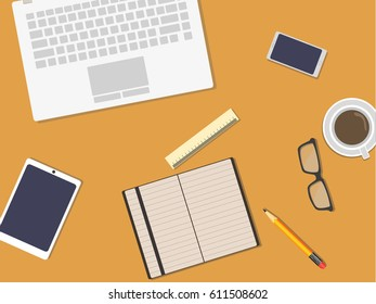 Flat design businessman concept. Top view of working place with laptop and documents. Vector illustration for web banner.
