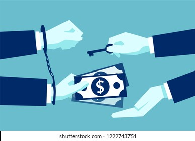 Flat design of businessman giving money in return of being released with handcuffs unlocked on blue background