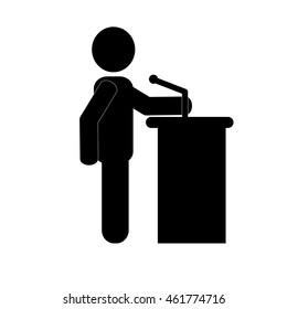 flat design businessman giving speech icon vector illustration