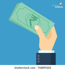 Flat design businessman paying. Hand holding indian rupee banknote. Vector icon template.