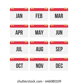 Flat design of calendar month icon set. Vector Illustration.