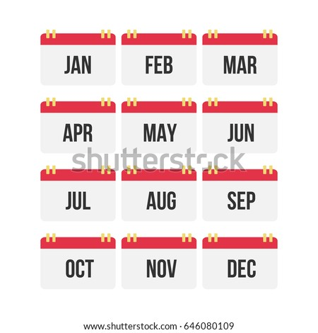 flat design calendar month icon set stock vector royalty free