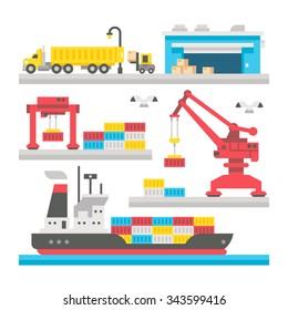 Flat design cargo port equipment illustration vector