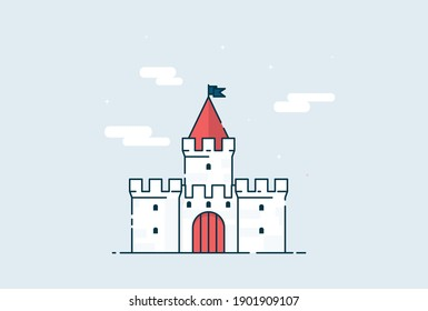 Flat design cartoon castle vector eps