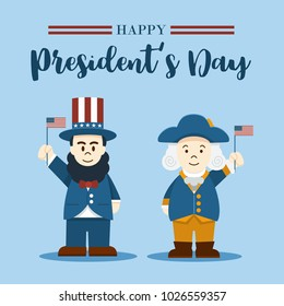 Flat design, Cartoon Illustration of Abraham Lincoln and George Washington, President's Day