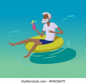 Flat design cartoon illustration in vector. Concept of happy old people. Man have a rest in the swimming pool. Active, cool and hipster elder grandparents