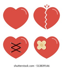 Flat design cartoon red heart icons set, collection isolated on white background.