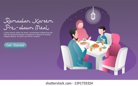 flat design cartoon vector illustration ramadan kareem. happy family to have pre dawn meal / suhoor together, with food and drinks on the table lit by lanterns and a starry sky. website, ui, homepage