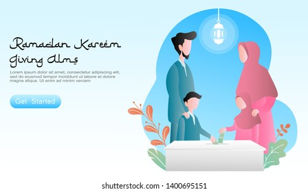flat design cartoon vector illustration ramadan kareem. together family happiness parents teaching the 2 children give alms in the charity box.  set of plants, lantern. for landing page, website, ui