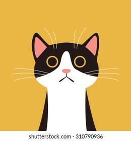 Flat Design, Cat face with yellow background.