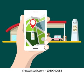 Flat Design Cellphone with GPS Navigation. Gas Station with Car on Background. Vector Map Symbol.