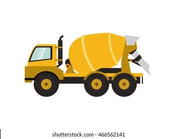 flat design cement mixer truck icon vector illustration