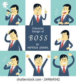 Flat design character set of boss or manager in various poses, feeling and emotional expression concept.