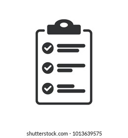 Flat design of checklist icon isolated on transparent background.  To-do list vector illustration. Fill form concept