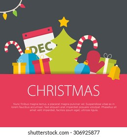 Flat design christmas concept. A set of flat design elements.