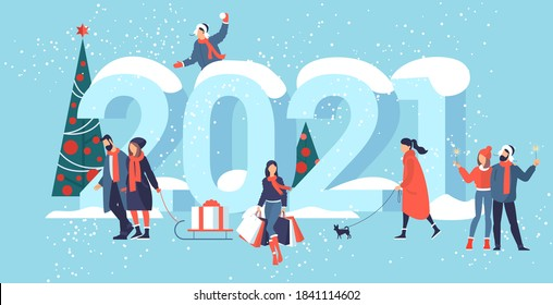 Flat design Christmas and New Year vector concept. Preparing to meet 2021 new year. Business people building the numbers 2021.