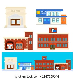 Flat design of city building. bank building. police station.fire department.school.