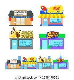 Flat design of city building. Japanese restaurant, toy shop, music store, sport shop.