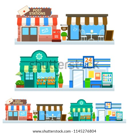 Flat Design City Building Post Office Stock Vector Royalty Free
