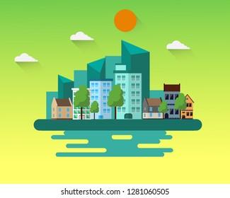 Flat design city landscape cityscapes.