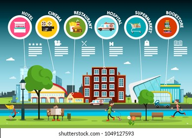 Flat Design City Park with Public Buildings Infographic. Vector Town Gide Infographics.
