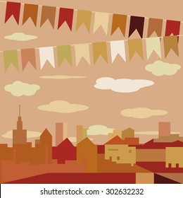 Flat Design City Vector Illustration. Sunset. Architecture, skyline, flat design. city on the river.bright night the background with colonial houses, lights and colored flags. Festival