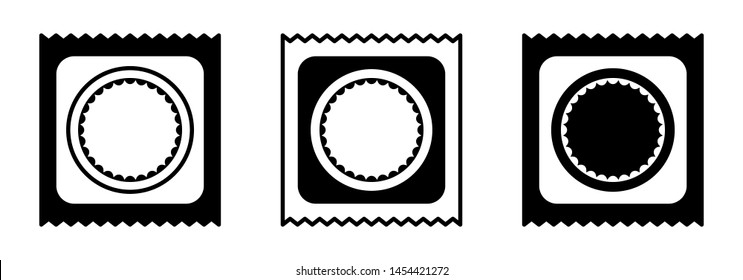 Flat design. Classification of condoms by size. Packed condom icon for apps, web sites and public use. Vector illustration. Rubber condom sealed in the package.