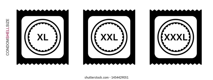 Flat design. Classification of condoms by size. Condom icon with size for applications, web sites and public use. Vector illustration. Condom folded in the package. Extra large, large.