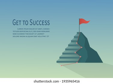 Flat design climbing routes and ladder to success. Business concept mission is complete.