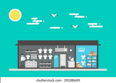 Flat design of cloth shop interior illustration vector