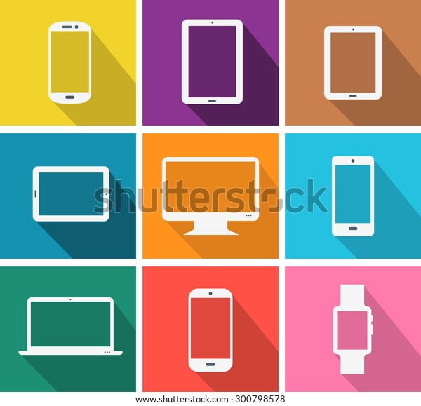 Flat design colored modern electronic gadgets