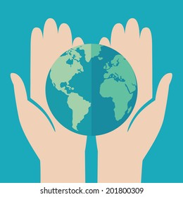 Flat design colored vector illustration of globe in hands. Isolated on bright blue background