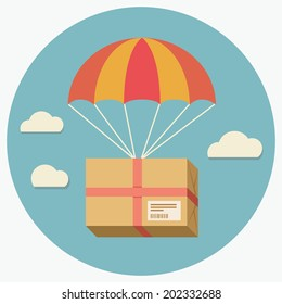 Flat design colored vector illustration of package flying down from sky with parachute, concept for delivery service