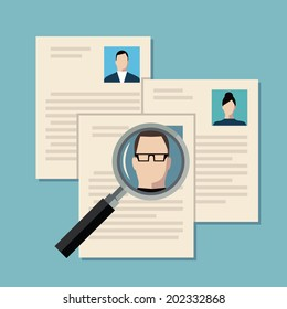 Flat design colored vector illustration concept of searching professional staff, analyzing personnel resume, recruitment, human resources management, work of hr. Isolated on stylish background