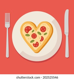 Flat design colored vector illustration of pizza in shape of heart on plate with fork and knife, concept for pizzeria. Isolated on stylish background