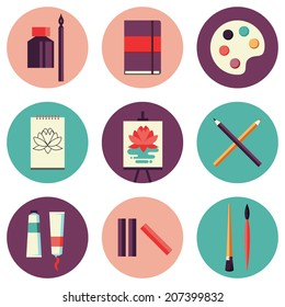 Flat design colored vector illustration set of icons for art supplies, art tools for painting, drawing, sketching isolated on white background