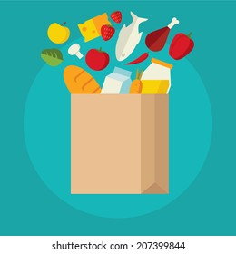 Flat design colored vector illustration of food and drink products falling down into paper bag, concept for retail. Isolated on bright background