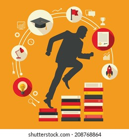Flat design colored vector illustration of male silhouette running up along stairs of books, concept of education, learning, personal development, successful career start isolated on bright background