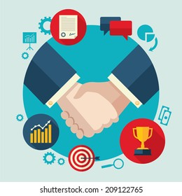 Flat design colored vector illustration of handshake by businessmen, concept for business cooperation, collaboration, partnership isolated on light background