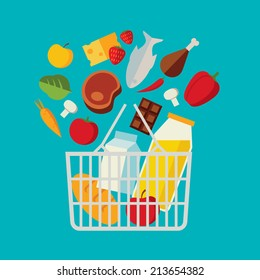 Flat design colored vector illustration of food and drink products falling down into basket, concept for retail. Isolated on bright background
