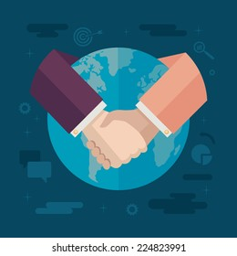 Flat design colored vector illustration concept for international cooperation, collaboration, partnership, global business isolated on stylish background