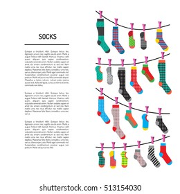 Flat design colorful socks set vector illustration. Selection of various socks on white background. Textile warm clothes socks pair cute decoration wool winter clothing. Socks season collection.